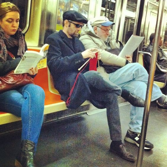 knitting man in metro