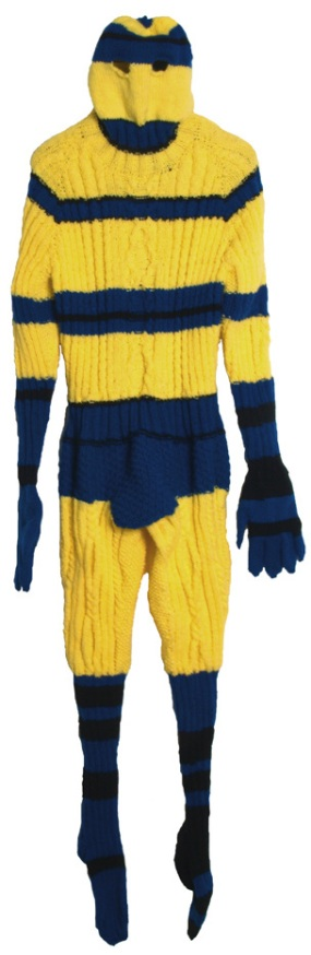 Sweaterman 7, Hand knit acrylic and buttons, 2011